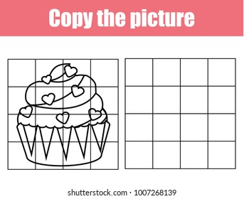 Grid copy game, complete the picture educational children game. Printable kids activity sheet with Valentines cupcake. Copy the picture.