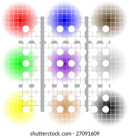 grid dots and colors