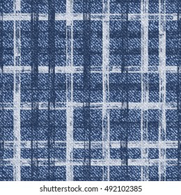 Grid faded denim texture Vector background. Checkered frayed Jeans fabric seamless pattern