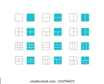 Grid and frame icons set in flat and line style