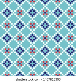 Grid geometric seamless blue pattern pixel blocks shapes texture. Bright colors vector fabric background.