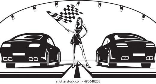 Grid girl launches car race - vector illustration