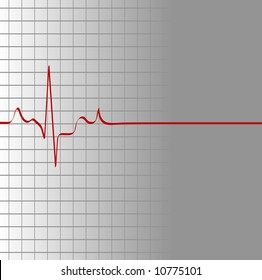 grid with heart beat and then flatline - death - vector