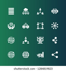 grid icon set. Collection of 16 filled grid icons included Network, Dynamo, Earth grid, Electric tower, Justify