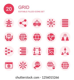 grid icon set. Collection of 20 filled grid icons included Electric tower, Network, Justify, Earth grid, Align right, Sketchbook, Networking, Grid
