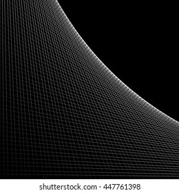 Grid, mesh of intersecting lines with curve, arc spreading from the corner. Reticulate pattern with asymmetry. Abstract monochrome illustration.
