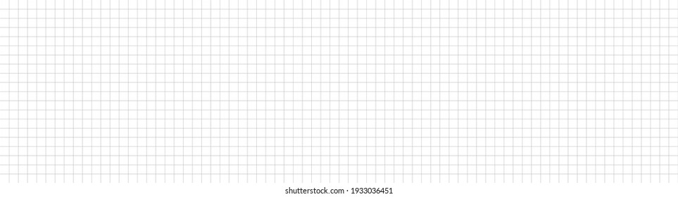 Grid paper long banner. Notebook paper. Grid on white background. Technical architect blank. Graph sketch. Checkered backdrop of map. Printable geometric design elements. Vector illustration.