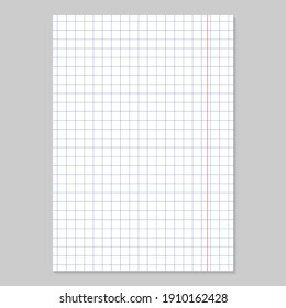 Grid paper. Realistic blank lined paper sheet in A4 format. Squared background with color graph. Geometric pattern for school, wallpaper, textures, notebook. Lined blank on transparent background.