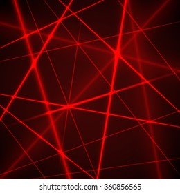 Grid of red laser rays. Vector background