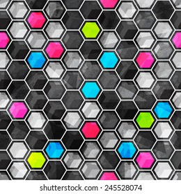grid seamless pattern with grunge effect