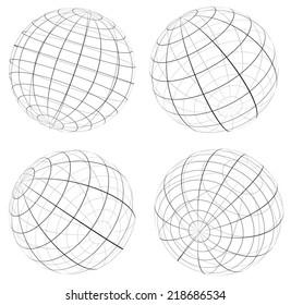 Grid, wireframe spheres, globes