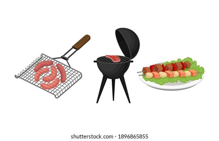 Gridiron with Sausages and Beef Steak as Barbeque Food with Grilled Meat Vector Set