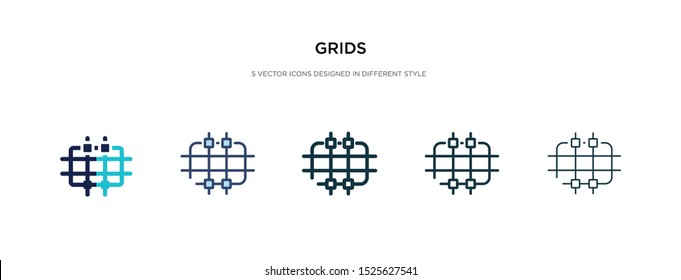grids icon in different style vector illustration. two colored and black grids vector icons designed in filled, outline, line and stroke style can be used for web, mobile, ui