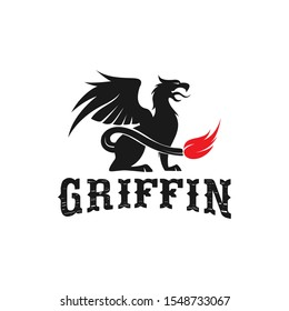 Griffin animal mythology logo design silhouette