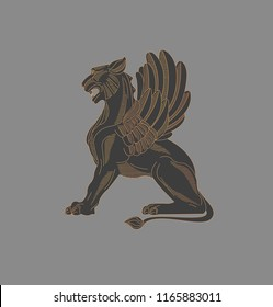 Griffin engraving graphic, linear texture