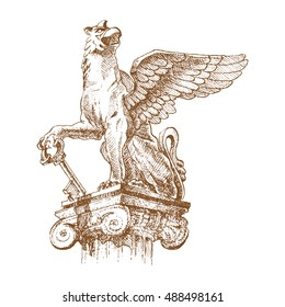 Griffin, griffon, or gryphon - engraving