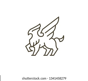 Griffin, griffon, or gryphon logo - Icon in minimal simple line style