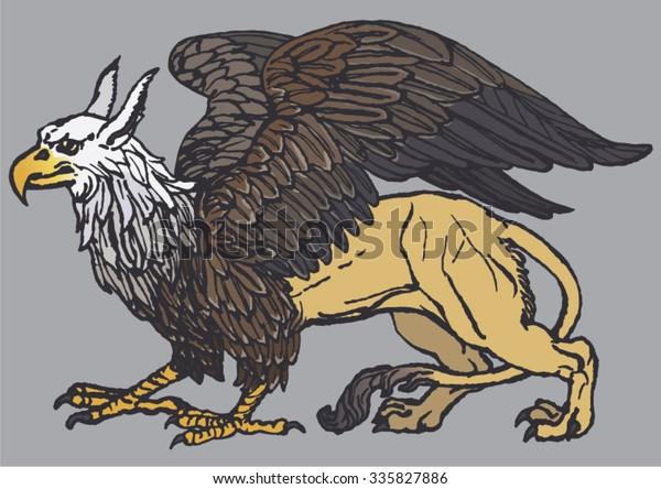 Griffin Griffon Gryphon Vector Illustration Bald Stock
