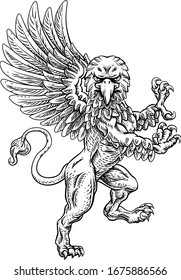 A griffin also known as a gryphon or griffon with lion body, wings and eagle head. Rampant standing on hind legs coat of arms crest mascot