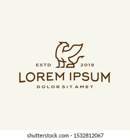 griffin logo mythical elegant luxury vintage hipster label illustration vector