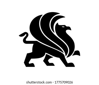 Griffin logo template, wing griffin icon vector