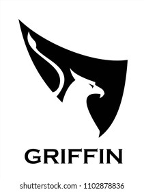 Griffin on black wing silhouette
