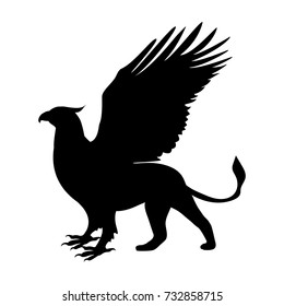 Griffin silhouette ancient mythology fantasy. Vector illustration.