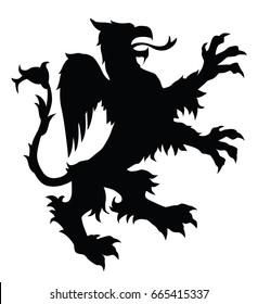 Griffin silhouette. Editable vector illustration.