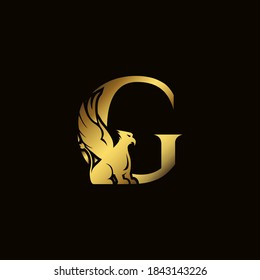 Griffin silhouette inside gold letter G. Heraldic symbol beast ancient mythology or fantasy. Creative design elements for logotype, emblem, monogram, icon or symbol for company, corporate, brand name.