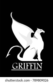 griffin, white gryphon on black background