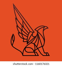 Griffon illustration of lines on a red background