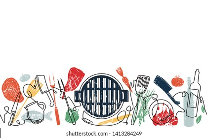 Grill Background. Pattern with Utensils for  Barbecue. One Line Style. Vector illustration.
