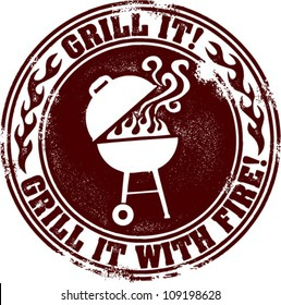 Grill It Backyard Barbecue BBQ Stamp
