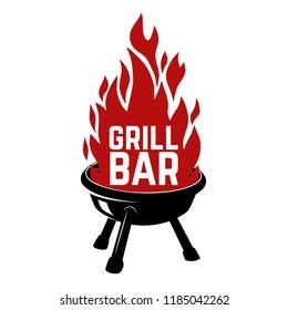 Grill bar. Illustration of bbq with fire. Design element for logo, label, emblem, sign, badge. Vector image