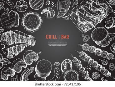 Grill and bar menu design template. Grilled meat and vegetables top view frame. Vector illustration. Engraved design. Hand drawn illustration. Pub food poster.