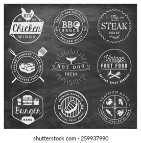 Grill, Barbecue, Burger, Hot Dog, Illustrations on Chalkboard