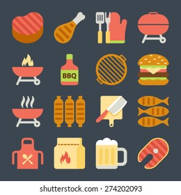 Grill Or Barbecue flat Icons