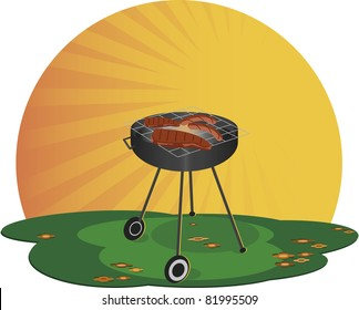Grill. A barbecue on a sunny day. There roasting meat.