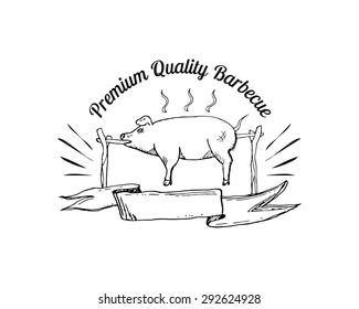 Grill, barbecue, picnic, camping logo with hand drawn element of pig. Vector illustration.