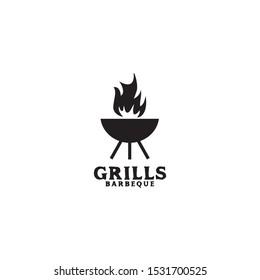 Grill barbecue restaurant logo design vector template