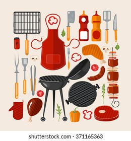 Grill Barbecue Set of Elements. Grilled Food with Kitchen Tools. Vector illustration in flat style