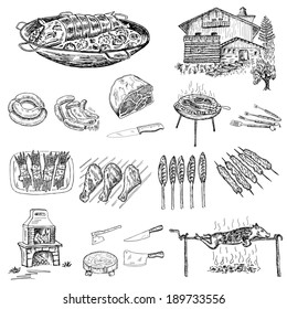grill and barbecue. set of vector sketches