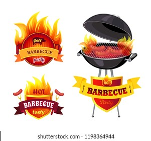 Grill BBQ barbecue party isolated icons set vector. Brazier mangal and emblems with text. Mangal with roast frankfurters and sausages, forks with food