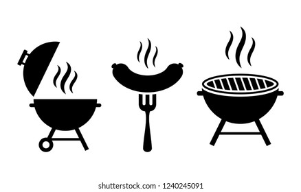 Grill bbq vector icon set illustration isolated on white background