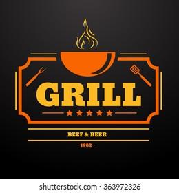 Grill Design Element in Vintage Style  Label, Badge and other design eps10 vector illustration.