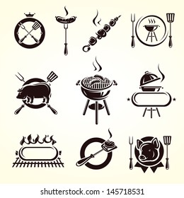 Grill elements set. Vector