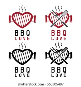 grill in a form of heart and bbq tools . Happy Valentine's Day vector concept