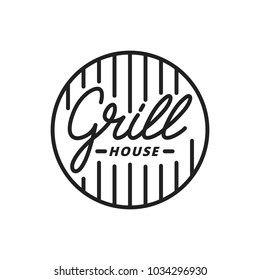 Grill house. Grill lettering illustration. Grill label badge emblem