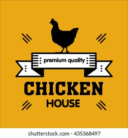 Grill house. Vintage logo grilled chicken on a yellow background. Highest quality.