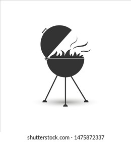 Grill icon for frying meat with fire, simple flat design.